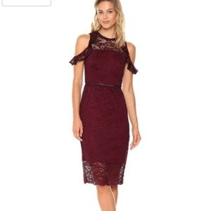 NEW BEBE Lace Mock Neck Cold Shoulder Wine Dress